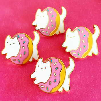 Donut Baby Cat Enamel Pin: Pastel Pink Edition - Gold Metal Lapel Badge - Cute Illustration by Sparkle Collective