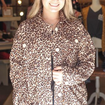 {Leopard} Corduroy Button Down Jacket