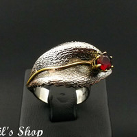 Ring, Bague, Anillo, Special Design Jewelry, 925 Sterling Silver, Gift For Her, Hammered, Oxidized, Handmade With Ruby Stone, US Size 7