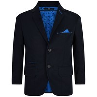Boys Navy Blazer with Blue Lining and Pocket Square