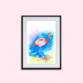 Watercolor flamingo painting pink digital posters birds art nursery printable Wall decor living room and bedroom wall art downloadable
