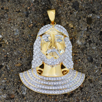 Egyptian Jesus Design Pendant Lab Diamond 18K Gold Finish