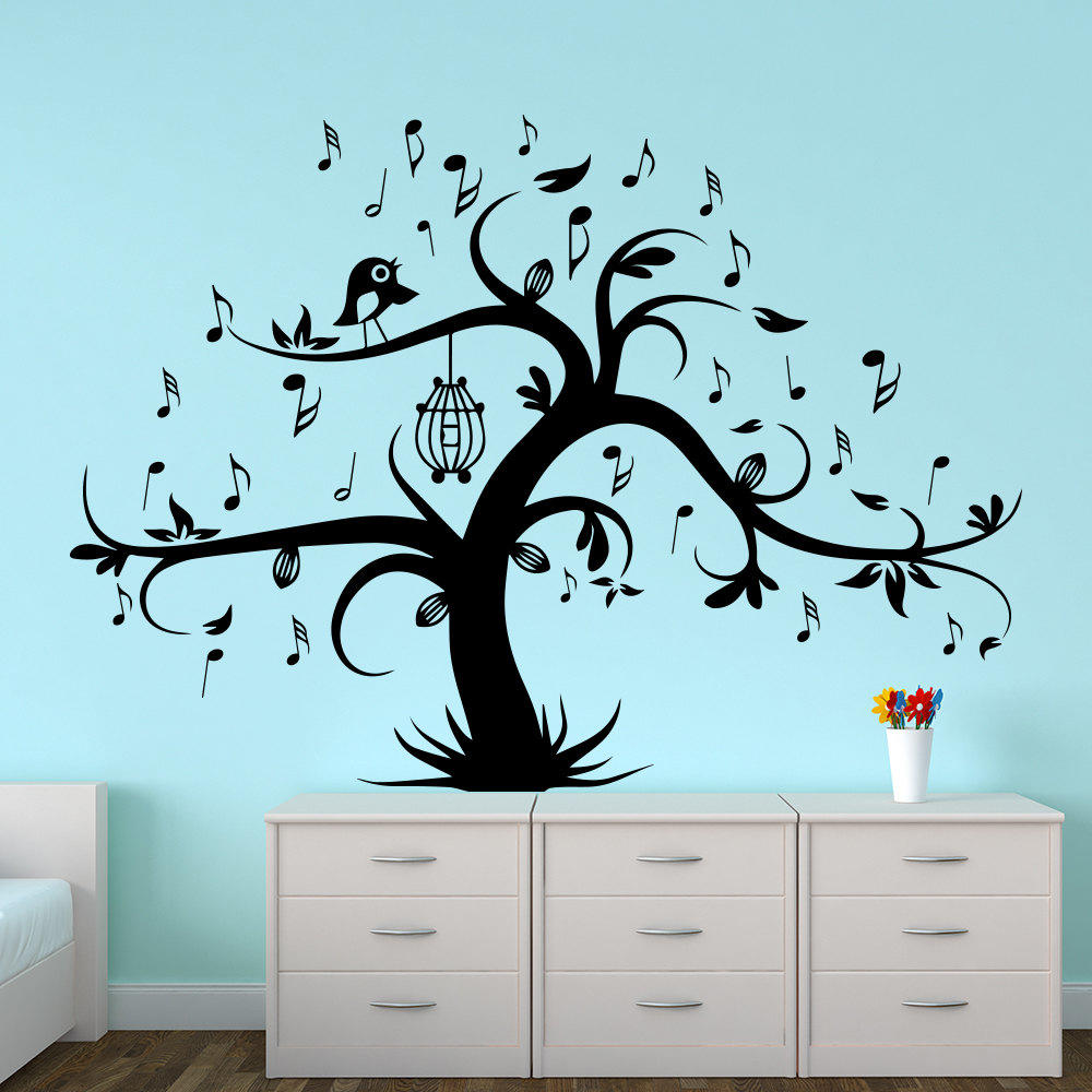 Wall Decal Tree Silhouette With Birdcage From Decalsfromdavid On