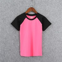 Women Sport Casual Multicolor Short Sleeve T-shirt Shorts Bra Set Three-Piece Sportswear