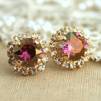 Purple violet Rhinestone stud Golden Autumn swarovski Crystal,christmas gift  - 14k plated gold post earrings real swarovski rhinestones.