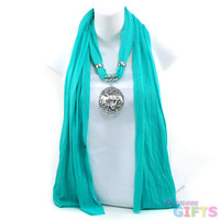 Women's Necklace Style Fashion Scarf w/ Exotic Elephant Rhinestone Charm - Turquoise Color: Turquoise