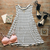 An Everyday Striped Swing in Oatmeal and Black