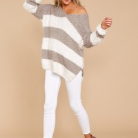 Moving On Without You Taupe Stripe Eyelash Sweater