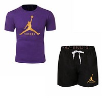 NIKE Jordan New fashion letter people print couple top and shorts two piece suit Purple