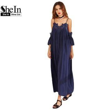 SheIn Womens Summer Beach Maxi Dresses Ladies Navy Spaghetti Strap Cold Shoulder Short Sleeve Pleated Lace Trim Shift Dress