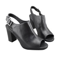 Leather Thick Heel Sandals