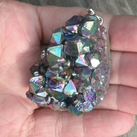 Rainbow Titanium Quartz Crystal Pointed cluster pendant bead, has a silver plated bail attached, thick piece with lots of points, Quartz