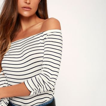 Chilled Out Navy Blue and White Striped Off-the-Shoulder Top