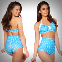 Pinup Swimsuits - 2 PC. High Waist Pinup Swimsuit Set in Turquoise & White Polka Dots