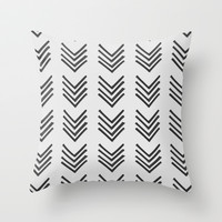 Grey Chevron Throw Pillow by Electric Avenue