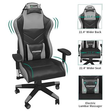 YITAHOME Gaming Chair Racing Office Computer Game Chair Ergonomic High Back PU Leather Desk Chair with Massage Lumbar Support, Deluxe Black
