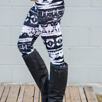 Black and White Abstract Print Leggings