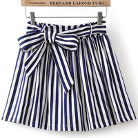 Blue Striped Mini Skirt with Bow Belt