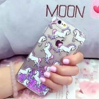 LOVECOM Horse Dynamic Liquid Quicksand Heart Hard Phone Back Cover Cases For iPhone 5 5S 5C SE 6 6S 7 Plus New Capa Cases