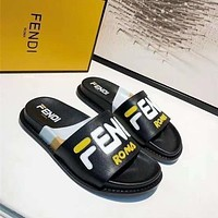 Fendi Fashion New Letter Print High Quality Leisure Slippers Shoes-3