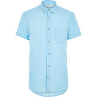 River Island MensBlue acid wash short sleeve shirt
