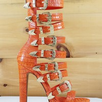 "Draco Orange Multi Strap High Heel Platform Shoes - 5.5"" Heels"