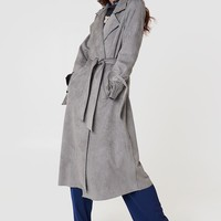 Faux Suede Bonded Trenchcoat