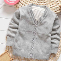 cardigan Spring boy n nnew -colored sweater jacket: 100% good quality single-breasted sweater baby girl outfit
