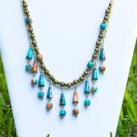 Gold And Turquoise  Statement Necklace Turquoise Statement Necklace  Blue Necklace Turquoise Bib Necklace Cube Pyramid Turquoise Necklace