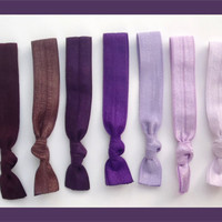 7 Elastic HAIR TIES, Purple, Lavender, Lilac, No Tug, Dent -  Purple Passion Colors, Holiday Shopping, Gifts for Teen, Under 10