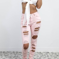 Step Up Pink Distressed Skinny Jeans