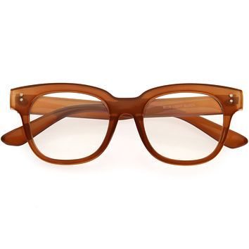 Bold Thick Rimmed Square Clear Blue Light Glasses D283