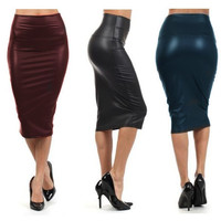Bohocotol 2016 summer women plus size high-waist faux leather pencil skirt black leather skirt S/M/L/XXXL  free shipping