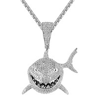 Custom Small Shark Face Icy 3D Custom Rapper Pendant