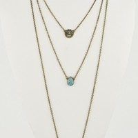 Gold Turquoise 3 Pendant Layered Necklace