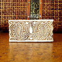 Paisley and Tulip Stamp: Hand Carved Wood Stamp, Indian Flower Border Printing Block, India Henna Tattoo Mendhi Textile Stamp