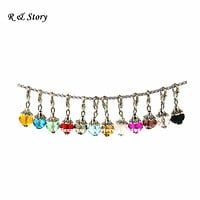 10mm Crystal Dangle Charms Great for charm bracelets memory lockets, oval link chains, key rings. LFD_025