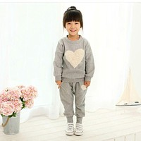 Baby Girls Clothes Autumn Winter Costume Heart Pattern Long sleeve t-shirt + Pant Children Clothing Kid Suit Girls Clothes Set