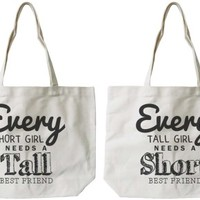 Tall and Short Best Friend BFF Canvas Bags - 365 Printing Inc
