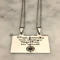 True Friend Necklace, Friendship Necklace, Friendship Quote, Best Friend Necklace, Best Friend Charm, Engraved Friend Charm, Gift for Her