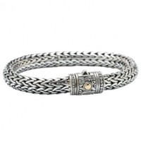 925 Sterling Silver Byzantine Bracelet with 18k Gold Accents- 7.5 or 8.5 IN