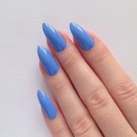 Periwinkle Blue Stiletto nails, Nail designs, Nail art, Nails, Stiletto nails, Acrylic nails, Pointy nails, Fake nails
