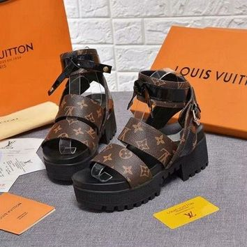 LV Louis Vuitton Coffee Women Thick-bottomed Beach Sandals Slipper Shoes