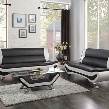 Home Elegance 8219-2pc 2 pc veloce black and ivory vinyl sofa and love seat set with chrome legs