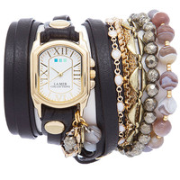 La Mer Positano Italian Stones Black Wrap Watch