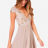 Bariano Sabina Beige Sequin Dress