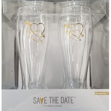 Heart with Arrow Pilsner Glass Set - 4 pack