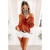 Stay Cozy My Friends Oversized V-Neck Sweater (Brick)