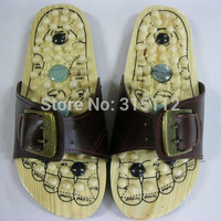 Health care Wooden base acupunture foot massage slippers natural stone acupoint massage slippers