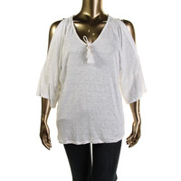 Moon & Meadow Womens Linen Boho Peasant Top